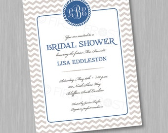 Monogram Printable Invitation - Wedding Bridal Shower Tea Luncheon Chevron