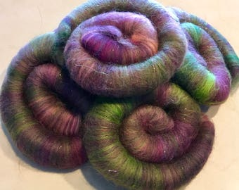 Rolags puni SPINNING FIBER hand blended Merino & angelina 2.5 ozs. 6 rolags