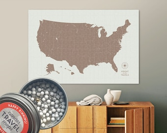 Vintage Push Pin USA Map (Earth) Travel Map Push Pin Map Gift Road Trip Map of the USA on Canvas Personalized Gift For Family Name Sign