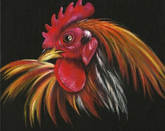"Rooster Portrait ""Gallus"" Small Format Art 8"" X 8"" Original Acrylic Painting"
