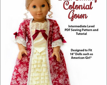 Pixie Faire My Angie Girl 18th Century Colonial Gown Doll Clothes Pattern for 18 inch dolls such as American Girl - PDF