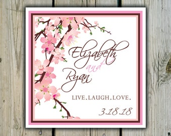 Square Custom Cherry Blossom Favor Labels / Stickers - Personalized Cherry Blossom Wedding Favor Stickers / Shower Labels / Birthday Sticker