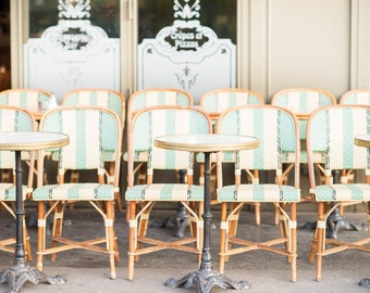 Paris Photography -  Cafe Chairs, Esmeralda, Striped Cafe Chairs, Sidewalk Cafe, Turquoise and Yellow, Large Wall Art, French Home Decor