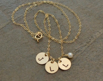 Initial Necklace - Gold Initial Necklace - Childrens Initials Necklace - Rose Gold Initial Necklace - Mother Necklace, Grandmother Necklace