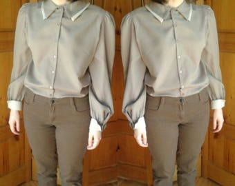 Vintage light brown secretary blouse with contrast collar and cuffs