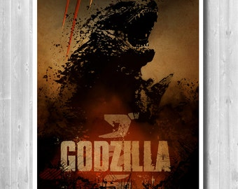 Godzilla Poster - Japanese Kaiju Movie Poster - Wall Decor Poster, Godzilla Art Print, Minimalist Movie, Godzilla Sci-Fi, Film, Wall Decor
