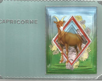 Card Zodiac, religious, 3D, pyramid shape made category Zodiac Capricorn - birthday, astrology, men, women, party