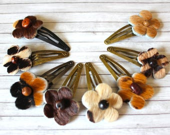 Hairclip Faux Leather, Hairclip Flower, Lether Flower Hairclip, Animal Print Hairclip,Hair Clip Flower,Leopard Hairclip,Mini Hairclip Flower