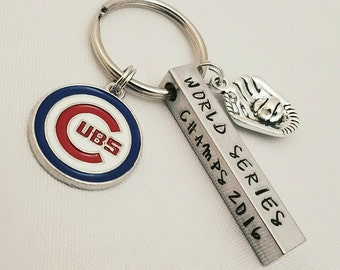 Chicago Cubs World Series Champs 2016 MLB Baseball keychain