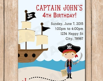 Boy Pirate Birthday Party Invitation - 1.00 each printed