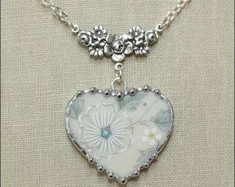 Broken China Jewelry, Lenox Windsong Heart Pendant Necklace....My Wedding China