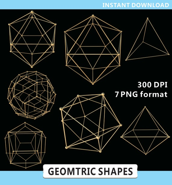 Geometric Shapes Clipart Geometry Clipart Gold Geometric