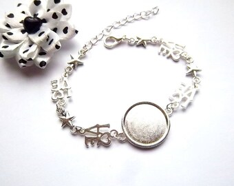 """1 support silver plated 18mm cabochon bracelet, """"love"""" and Star"""