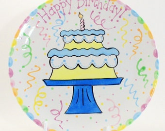12 inch Birthday Cake Plate - Personalized Happy Birthday Plate - Hand Painted Ceramic Plate - Special Occasion Plate - Personal Kids Plate
