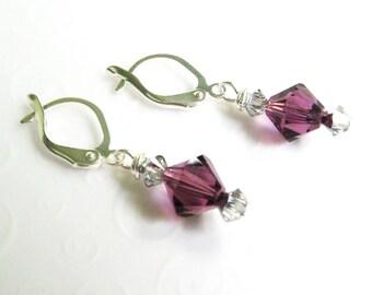 Amethyst Crystal Earrings, Small Dangle Earrings, February Birthstone Jewelry, Swarovski Amethyst Purple Crystal Earrings Minimalist Jewelry