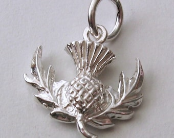 Scotland necklace etsy genuine solid 925 sterling silver 3d scottish thistle charmpendant aloadofball Image collections