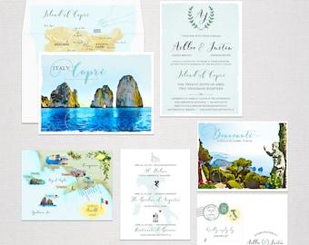 Capri Island Italy Amalfi Coast Illustrated Destination wedding invitation RSVP watercolor drawing - Deposit Payment