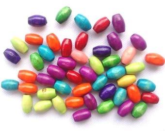 50 WOOD Beads Lot - 8x5mm - COD6118