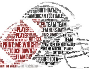 Personalised word art, American football and helmet design, typography, gift idea for football fans, birthday, Father's Day