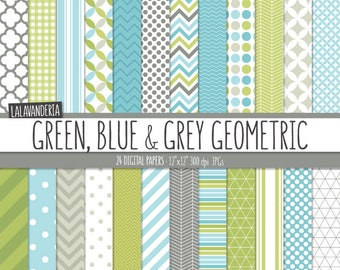 Geometric Digital Paper Package with Green, Blue and Grey Backgrounds. Printable Papers Set - Geometric Patterns. Digital Scrapbook