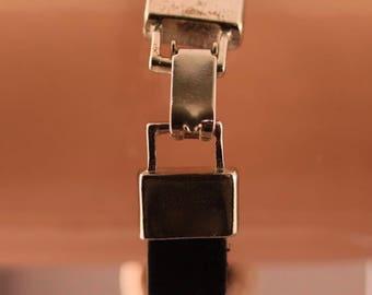 Black Leather Bracelet with Metal Sliders