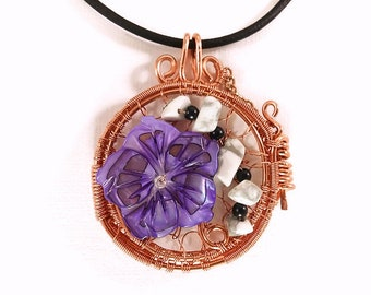 Wire Wrap, Locket, Necklace, Shell, Flower, Beads, Howlite, Gemstone, Crystals, Copper, Jewelry, Gift, Women's, Unique