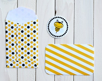 Invitation envelopes and cards - Bee theme party - 10pcs