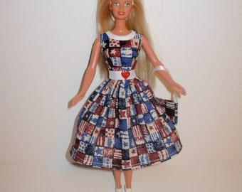 Handmade barbie clothes CUTE Patriotic dress and bag 4 barbie doll