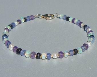 Blueberry Opal Bracelet, Sapphire Bracelet, Ethiopian Opal Bracelet, October Birthstone, Gemstone Bracelet, Dainty Beaded Bracelet
