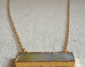Abalone bar pendant gold necklace necklace