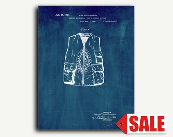 Patent Print - Hunting And Fishing Vest Patent Wall Art Poster