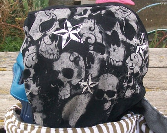 Upcycled Skulls Shirt Fleece Hooded Scarf Scoodie OOAK Ready to Ship