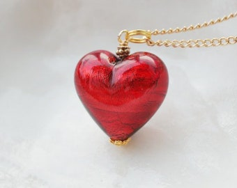 Red Murano Glass Heart Necklace