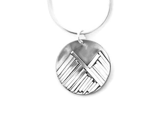 Mountain Necklace, Silver Coin Necklace, Mountain Pendant, Mountain Jewelry, Silver Coin Pendant, Coin Necklace, Sterling Silver, Handmade