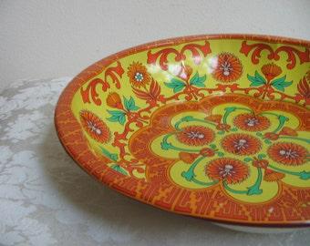 Vintage Funky Metal Bowl by Daher In Orange Turquoise Yellow, Psychedelic Kaleidoscope Mandala, Boho Chic, England
