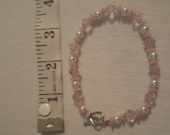 "9"" Pink and white bracelet"