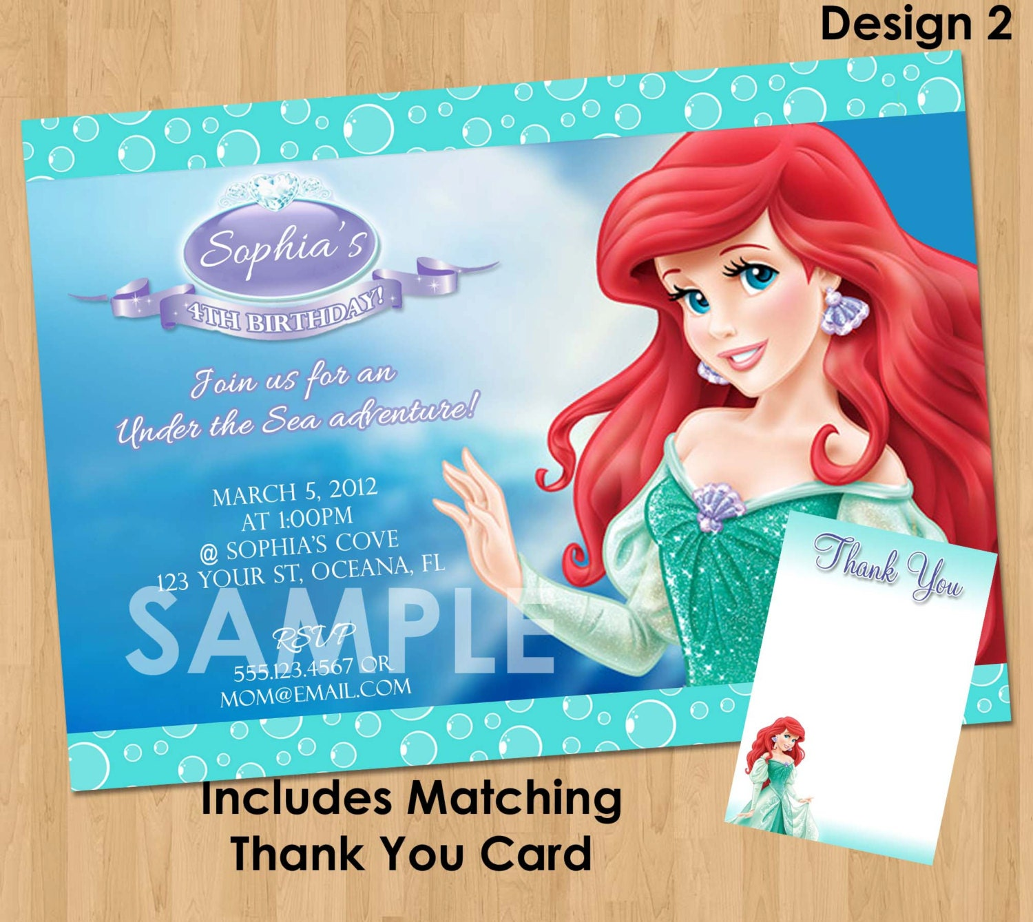 Ariel the little mermaid invitation thank you note zoom filmwisefo Choice Image