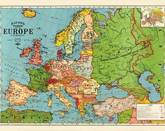 1923 Old Europe map printable digital download.Vintage Europe Map-Instant Digital Download.PRINTABLE map.Europe traveller map.Trip to Europe