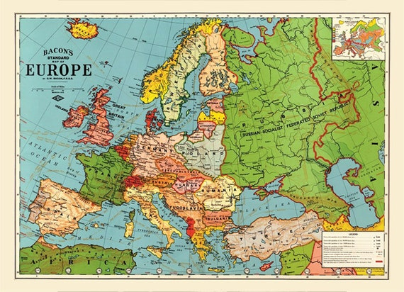 1923 old europe map printable digital downloadntage europe gumiabroncs Gallery