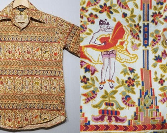 1960s Shirt / Pin Up / S - M / Pinup / Cheesecake / Novelty / Psychedelic / Mod / Hippie / 60s Shirt / 1960s Mens Fashion / Pin Up Girl