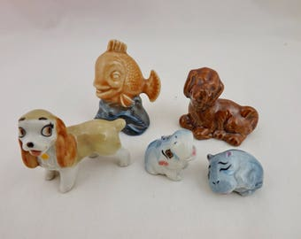 Wade 5 Items Waterlife Fish, Red Setter Puppy Dog, Disney Lady and 2 Happy Family Hippo's (Perfect)