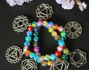 Bracelet 7 chakras in pearls of glasses - energy