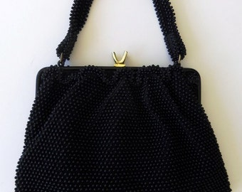 Vintage 50's 60's Handbag Purse Black Beaded with Ruffled Edge by Corde Bead Lumured