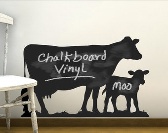 Cow Vinyl Chalkboard Wall decal, Kids Chalkboard, Barnyard Baby Shower, Barnyard Party Animals Wall Stickers Dairy Cow & Calf (0179c9v)