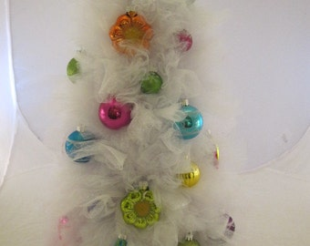 White Tulle Jewel Toned Tabletop Christmas Ornament Tree