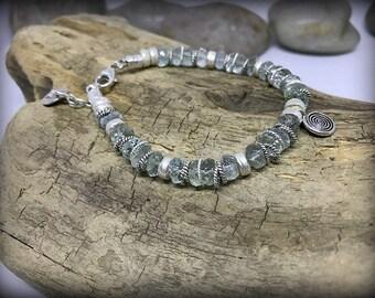 Sterling Silver Faceted Aquamarine Bracelet