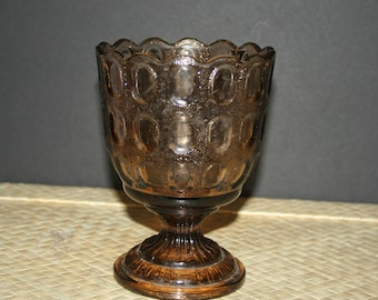 Vintage Glass Pedestal Vase, Heavy Chalice, Glass Planter , E.O. Brody Co., M4200, Made in USA