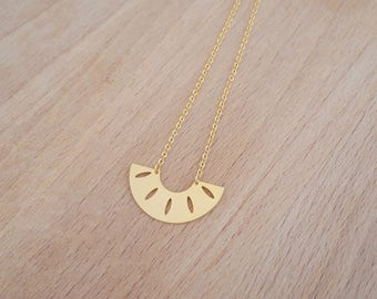 Minimalist gold fine gold Moon pendant necklace