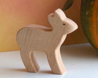 Carved Wooden DOE Female Deer, Handmade Toy Animal, Waldorf Inspired
