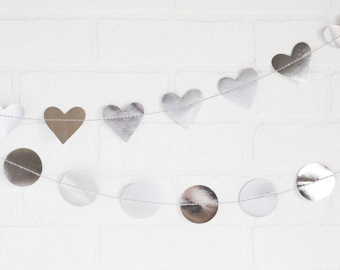 Heart Paper Garland, Silver Heart Banner, Wedding Garland, Silver Foil Banner, Mini Heart Banner, Birthday Party Banner,Silver Banner,PGB412